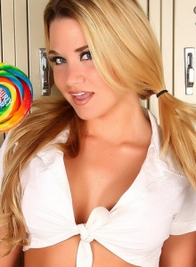 Perfect Blonde Alluring Vixen Tease Allie Isnt Shy As She Strips Out Of Her School Girl Uniform - Picture 2