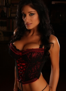 Busty Alluring Vixen Amanda Can Barely Be Contained By Her Sexy Lace Corset - Picture 1
