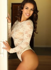 Sexy Alluring Vixen Amanda Marie Shows Off In A Tight Lace Semi-sheer Body Suit - Picture 9