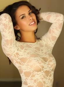 Amanda Marie Shows Off In A Tight Lace Semi Sheer Body Suit - Picture 11