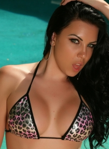 Curvy Babe Aura Teases By The Pool In A Skimpy String Bikini - Picture 9