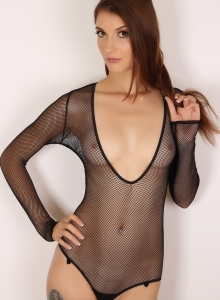 Alluring Vixen Alea Shows Off Perfect Body Sexy Slutty Mesh Bodysuit - Picture 2