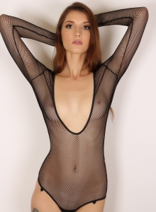 Alluring Vixen Alea Shows Off Perfect Body Sexy Slutty Mesh Bodysuit - Picture 4