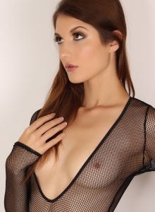 Alluring Vixen Alea Shows Off Perfect Body Sexy Slutty Mesh Bodysuit - Picture 7