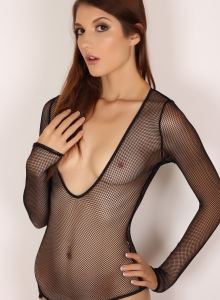 Alluring Vixen Alea Shows Off Perfect Body Sexy Slutty Mesh Bodysuit - Picture 8