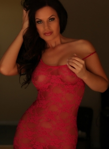 Busty Charlie Teases With Her Big Tits In A Sexy Red Lace Outfit - Picture 8