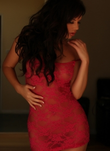 Busty Charlie Teases With Her Big Tits In A Sexy Red Lace Outfit - Picture 9