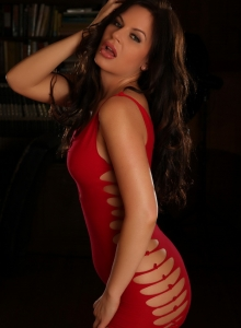 Curvy Babe Charlie Teases In A Very Slutty Red Dress With Nothing On Underneath - Picture 12