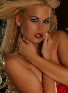 Blonde Alluring Vixen Babe Charlie Teases In Her Red Vinyl Corset As She Gets Topless - Picture 10