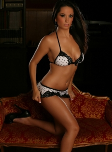 Corin In A Skimpy Lace Trimmed Bikini Top With Matching Bottoms - Picture 5