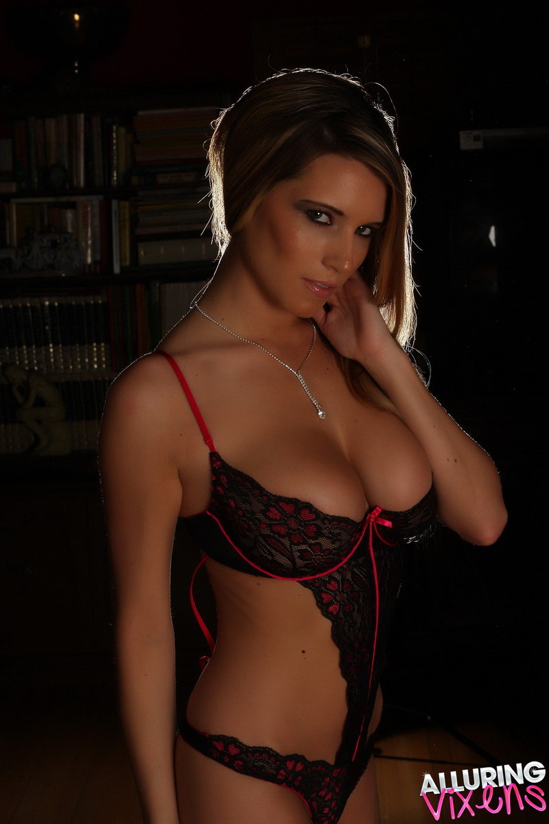 Alluring Vixens: Busty Alluring Vixen Dany teases with her big tits in a skimpy little lace lingerie outfit that barely covers