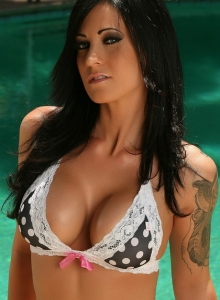 Busty Babe Tease Jenn Shows Off Her Delicious Curves At The Pool In A Polka Dot Bikini - Picture 9