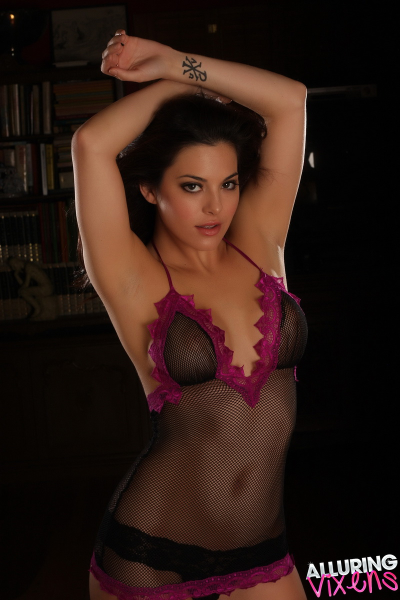 Sexy Alluring Vixen Tease Olivia Shows Off Her Perfect Tits Through Her Semi Sheer Mesh Lingerie - Picture 3