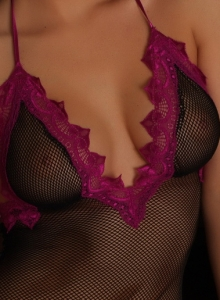 Sexy Alluring Vixen Tease Olivia Shows Off Her Perfect Tits Through Her Semi Sheer Mesh Lingerie - Picture 2