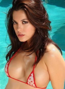 Stunning Busty Alluring Vixen Babe Olivia Shows Off By The Pool In A Skimpy String Bikini - Picture 5