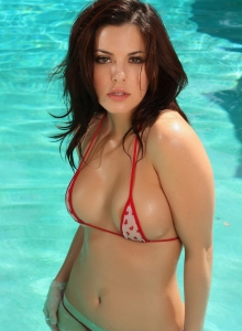 Stunning Busty Alluring Vixen Babe Olivia Shows Off By The Pool In A Skimpy String Bikini - Picture 10