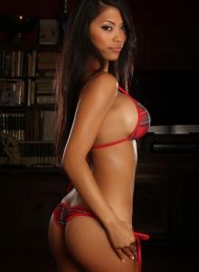 Busty Babe Sherri Teases In A Plaid String Bikini - Picture 7