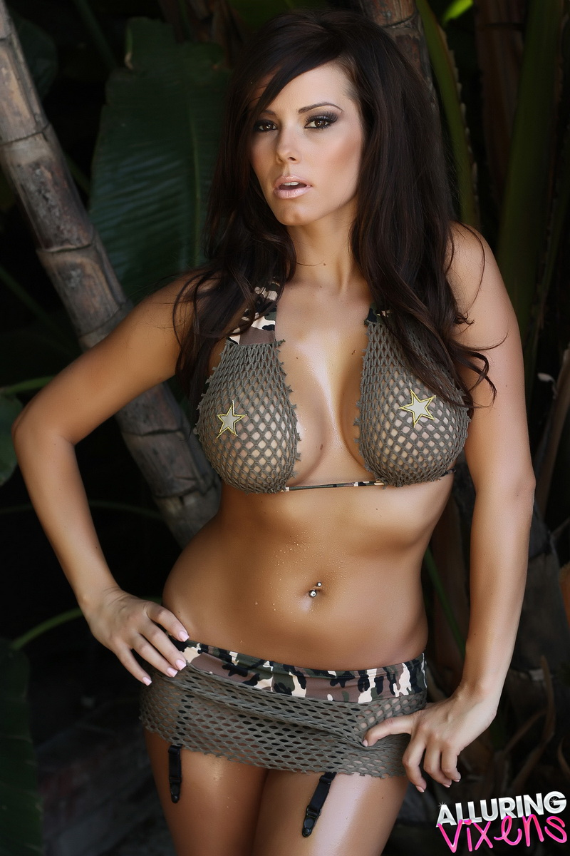 Alluring Vixen Candace Teases With An Army Themed Mesh Bikini Outdoors - Picture 2