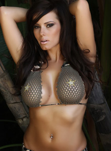 Alluring Vixen Candace Teases With An Army Themed Mesh Bikini Outdoors - Picture 7