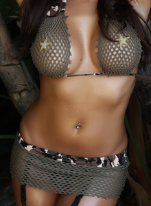 Alluring Vixen Candace Teases With An Army Themed Mesh Bikini Outdoors - Picture 8