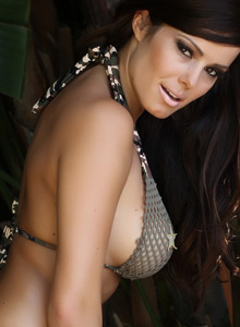 Alluring Vixen Candace Teases With An Army Themed Mesh Bikini Outdoors - Picture 12