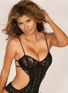 Claudia Teases In Her Black Lace Lingerie Outfit That Barely Covers Her Big Juicy Breasts - Picture 1