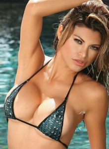 Claudia Is In The Pool In A Skimpy String Bikini That Barely Covers Her Perfect Curves - Picture 10