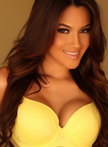 Busty Babe Cynthia Shows Off Her Perfect Curves In Matching Yellow Bra And Panties - Picture 2
