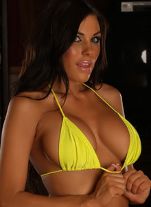 Stunning Alluring Vixen De Poses In A Very Skimpy Yellow String Bikini - Picture 5