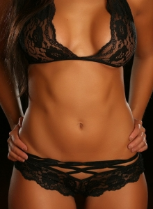 Sexy Perfect Alluring Vixen Erica Teases Skimpy Lace Top Panties - Picture 3