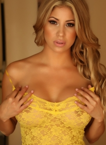 Curvy Babe Erika Teases Tight Yellow Sheer And Lace Dress - Picture 5