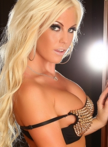 Blonde Babe Ivy Shows Off Her Perfect Curves In A Black Gold Spike Covered Bra And A Skimpy Black Lace Thong - Picture 6