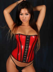 Asian Babe Jada Cheng Teases In A Tight Corset And Black Thong - Picture 1