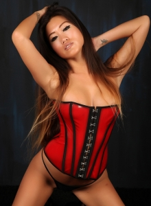 Asian Babe Jada Cheng Teases In A Tight Corset And Black Thong - Picture 7