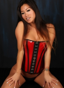 Asian Babe Jada Cheng Teases In A Tight Corset And Black Thong - Picture 8