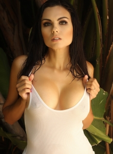Big Breasted Babe Krystle Lina Teases In A Tight Wet Tank Top That Barely Contains Her Big Juicy Tits Outdoors - Picture 8