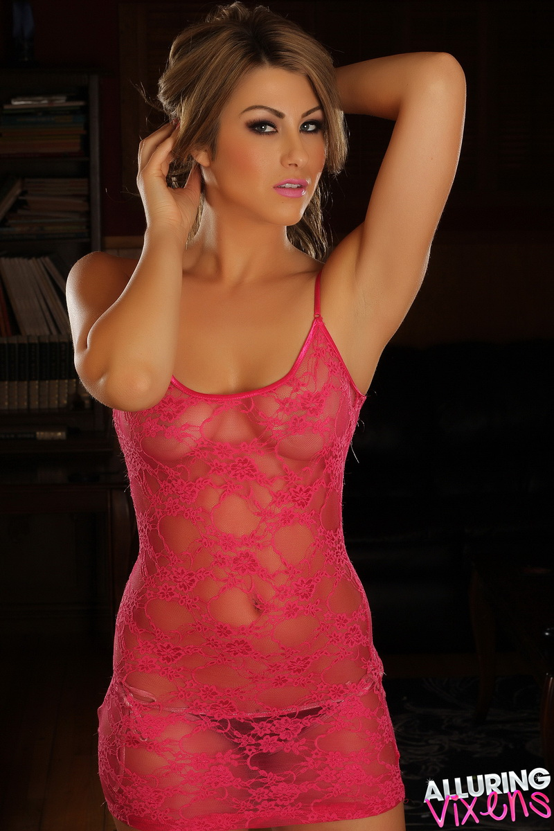 Alluring Vixens: Cute Alluring Vixen tease Melanie Ann shows off in a sexy lace semi sheer top that exposes her perky perfect breasts