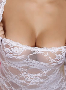 Busty Blonde Vixen Shannon Teases With Her Huge Breasts In A Sexy Little White Lace Top - Picture 8