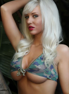 Busty Blonde Tara Babcock Can Barely Keep Her Huge Breasts Covered With Her Tiny Camo Bikini Top - Picture 5