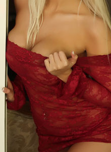 Busty Blonde Vixen Tara Babcock Loves To Tease In Her Sexy Red Lace Outfit - Picture 11