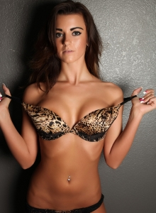 Taylor Shows Off In A Sexy Animal Print Bra With Matching Lace Panties - Picture 5